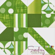 """Piece N Quilt: How to: Clover Quilt Block Tutorial - Sunday Stitches--sharing a St. Patricks Day tutorial...I've created this tutorial with three size options, you could make multiple 12"""" blocks and make this into a quilt, or make the larger 18"""" block into a little table topper, or make the 18"""" block into a fun wall hanging."""