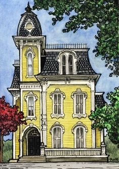 """""""Tiny Victorian"""" -- Photographic Print professionally made from the original watercolor and ink illustration (by Gene Ploss) Disney Alphabet, House Illustration, House Drawing, House Sketch, Victorian Architecture, Drawing Architecture, Urban Sketching, Woman Painting, Victorian Homes"""