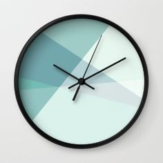 Green Geometric Artwork Wall Clock by ursularosien Diy Clock, Clock Ideas, Modern Clock, Modern Wall, Coral Walls, Geometric Artwork, Ads Creative, Gifts For Office, Beautiful Wall