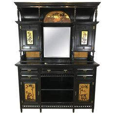 English Aesthetic Ebonized Cabinet | From a unique collection of antique and modern credenzas at https://www.1stdibs.com/furniture/storage-case-pieces/credenzas/