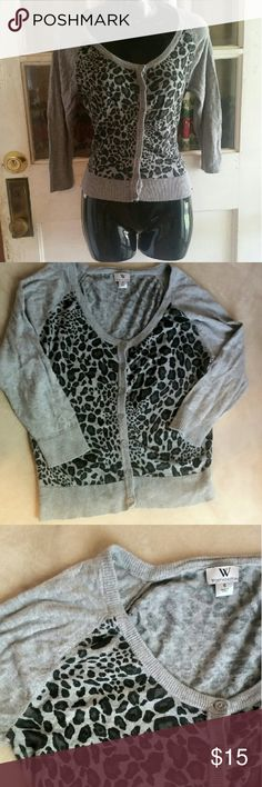 Worthington cheetah print Button up 3/4 sleeve cheetah print cardigan Worthington Sweaters Cardigans