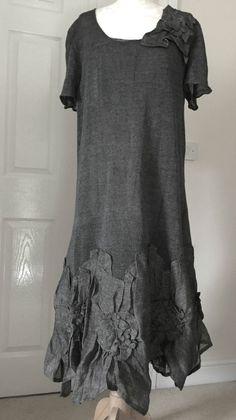 AMAZING ZUZA BART CREATION quirky 100% linen slate grey long dress sz XL