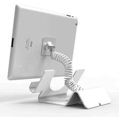 Universal-Tablet-Holder-iPad-Security-Stand-with-Coiled-Cable-Lock-White