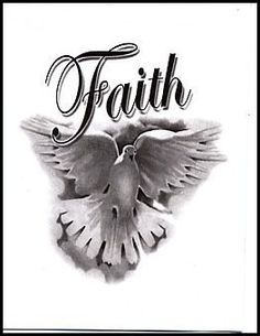 "Faith: Dove Temporaray Tattoo by Tattoo Fun. $3.95. This is a black and white Temporary tattoo of a dove in flight with the word ""Faith"" written above it. It measures approx 2 1/4"" long x 2 1/4"" wide."