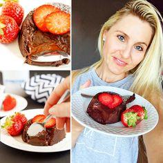 Fitness čokoládový lava cake - lávový dortík - fondant - zdravý recept Bajola Lava Cakes, Fondant, Fitness, Muffin, Vegetables, Breakfast, Food, Gymnastics, Fondant Icing