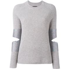 Zoe Jordan Hubble Knit Cut Out Sweater (5.324.800 IDR) ❤ liked on Polyvore featuring tops, sweaters, round neck sweater, gray sweater, ribbed knit top, patch sweater and gray knit sweater