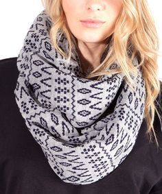 Another great find on #zulily! Plush Gray & Navy Blue Scandinavian Fleece-Lined Scarf by Plush #zulilyfinds