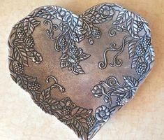 Embossed Heart Shaped Love Floral Metal Trinket Dish USA Carson Statesmetal  #CarsonStatesmetal