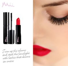 The perfect duo just for Mii. Use your Passionate Lip Lover in One True Red 01 and Showstopping Lash Lover in Diva 01 to create this classic, bold look. Let a moment of flirtation become a beautiful obsession. Brow Bar, True Red, Red Lipsticks, Lashes, Make Up, Cosmetics, Beauty, Diva, Create