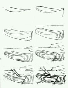 Pencil Drawing Tutorials How to draw a boat step-by-step 12 Pencil Drawing Tutorials, Pencil Art Drawings, Easy Drawings, Art Tutorials, Art Sketches, Drawing Lessons, Drawing Techniques, Drawing Tips, Drawing Art