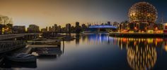Vancouver city light sunset panorama - A wonderfiul sunset with city light in this panorama of Vancouver's False Creek with canoes club, Science World and the BC Place stadium in the background. Architecture Wallpaper, Light Architecture, Architecture Design, Building Architecture, Building Design, Natural Night Lights, Canoe Club, Vancouver City, Widescreen Wallpaper