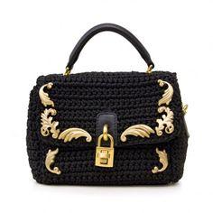 Dolce & Gabbana black baroque crochet top handle bag