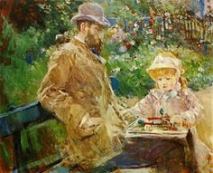 Eugene Manet with his daughter at Bougival, 1881 by Berthe Morisot. Eugene Manet, the younger brother of the artist, Edouard Manet, was married to Berthe Morisot. Edouard Manet, Pierre Auguste Renoir, Impressionist Artists, Impressionism Art, Claude Monet, Julie Manet, Berthe Morisot, Edgar Degas, Art Studies