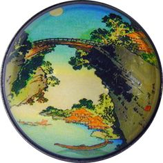 High Bridge Over Village Japan Scene  Crystal Dome Button 1 & 3/8 inch AAI 40