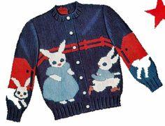 1950s Knit O Graf 945 Knitting PATTERN Farmer Rabbits Cardigan pullover Sweater #KnitOGraf945