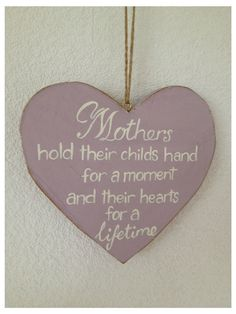 Handmade  Wooden Heart Shabby chic Plaque Sign For Mum Mother. on Etsy, $15.32