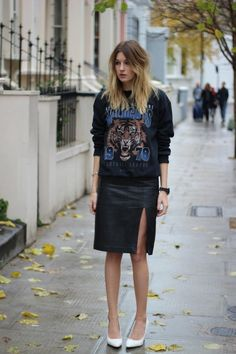 Gina Tricot sweatshirt, an old H & M trend leather pencil skirt, and Mango wedges