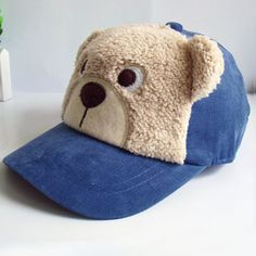 Children Winter Cap Bear Style; Baby Baseball Caps with Cotton and Velvet; Hip Hop Snapback Polo Hats for Boys Girls