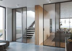 Posuvný systém Premium elegantně odděluje jednotlivé prostory interiéru #dveře#glasswall#portevetro#doors#dveře#modern#house#interier#home#homedesign#skleněnéStěny#Posuvnédveře#SlidingDoors#slidingDoor#bedroom#ložnice#šatna#slidingWardrobe# Divider, Doors, House, Furniture, Design, Home Decor, Slab Doors, Haus, Home Furnishings