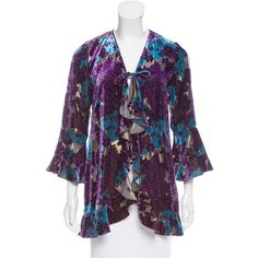 Pre-owned Anna Sui Silk-Blend Velvet Cardigan ($75) ❤ liked on Polyvore featuring tops, cardigans, blue, metallic top, blue floral cardigan, floral cardigan, flower print cardigan and floral tops