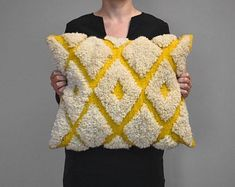 Floor cushion for indoor and outdoor use. Hand woven and knotted in Albania, on a traditional loom, with wool from a local endemic breed of innen Kilim wool cushion - Diamonds Handwerk Schafe Punch Needle Patterns, Cushion Diamond, Floor Cushions, Rug Hooking, Loom Knitting, Handmade Rugs, Hand Weaving, Loom Weaving, Textiles