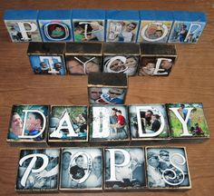 Picture blocks or letter blocks...could even use theseas place settings at your tables.