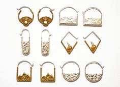 A collection of earrings celebrates the sun, stars, earth, air, fire and water.