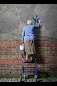 Street art. Graffiti grandma. :-) (or as I like to call her 'a grafanny'!)