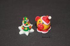 Mini-Weihnachts-Deko aus Fimo, absolutes Unikat. Weihnachtsglücksschweinchen mit eigenem Weihnachtsbäumchen     Das Weihnachtsglücksschweinchen mit se