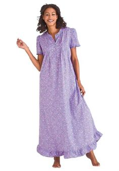 Dreams And Company Plus Size Ruffled Long Nightgown $24.99