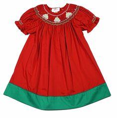 Rosalina Infant / Toddler Girls Smocked Christmas Trees Bishop Dress - Red
