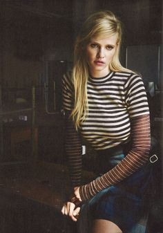 Lara Stone wearing our Sassia sweater