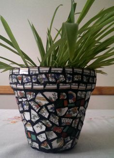 Multicolored China and Glass Tile Planting Pot by ManicMosaics, $20.00. Cool idea for pots!
