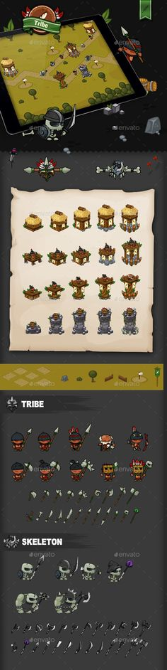 Tower Defense Game Set Tribe - Game Kits #Game Assets Download here: https://graphicriver.net/item/tower-defense-game-set-tribe/20036906?ref=alena994