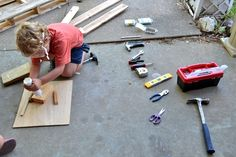 From The Hive: Inexpensive boys birthday gift- little tool box with a few cheap tools.