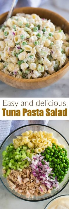This Tuna Pasta Salad with shell noodles, peas, tuna, celery, and a creamy Greek yogurt sauce is fast, healthy, and a dish your whole family can enjoy! #healthy #cold #easy #greekyogurt #recipes #pasta #salad #casserole #creamy #best #classic #peas #mayonnaise via @betrfromscratch