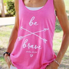 Inspired by Psalm 31:24, this ultra-soft, super cute Christian tshirt for women is stylish, fashionable and comfy ~ a perfect tank top for summer and a fantastic Christian gift idea for women and young ladies.