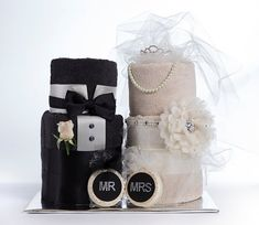 "The ""Mr. & Mrs."" Towel Cakes. Bridal Shower or Wedding Gift. on Etsy, $150.00"