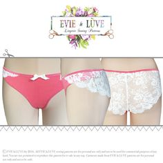 Please note this listing is for a printed sewing pattern and not actual lingerie.  The Esme knickers are super sexy with a low cut waist, cross over design at the hip and sheer lace back. A pair of Esme knickers would make a great addition to your knicker draw and why stop at one pair? Once you have the pattern you can make as many as you like, you could soon have a whole new set of undies!  The pattern is designed for stretch knits such as jersey, stretch velvet, stretch satin with a…