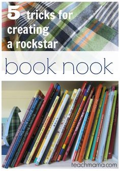 Want to raise strong readers?Try these 5 tricks for creating a rockstar book nook in your home or classroom! Creative book nooks will invite kids to pick a book, cozy up and read! And what more would we love than for our kids to love reading and book learning! #books #learning #teaching #parenting #education #reading