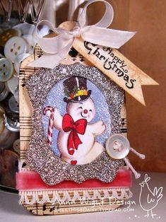 Snowman fabric scrap or Christmas card and die cut frame idea for a tag.  AnnaWightCSSnowmanTag1web600