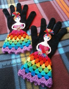 "https://flic.kr/p/dHuUr9 | Crochet Gloves - The Upcycled Rainbow Fairy Princess | Base: a pair of new, very elastic, very warm black gloves. The left one had a little hole, I repaired it, it's invisble now.  The Rainbow Fairy Princess has turquoise sequin eyes sewn on with tiny royal blue beads, a rainbow tulle bouquet with red button ""flower"" decoration and romantic rainbow granny stripe crinoline. Her hair is french braided and tied on the top and She has funky rainbow fringe.  T..."