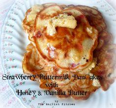 Strawberry Buttermilk Pancakes with Honey & Vanilla Butter