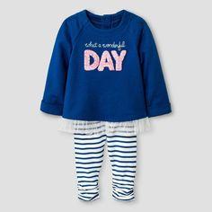 Baby Girls' Long-sleeve Ruffle Hem Tunic and Striped Legging Set Baby Cat & Jack - Blue 12 M, Infant Girl's