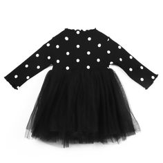 Princess Long Sleeve Baby Girl Dress Bow Dot Tutu Ball Gown Party Dress