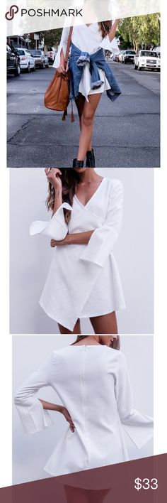 Bell Sleeve V-Neck Dress Cute white bell sleeve dress, available in two sizes! Measurements M- Length: 84cm/ Bust- 94cm; L- length: 85cm/ Bust: 98cm Dresses Mini