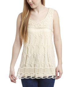 Simply Irresistible Natural Lace Overlay Tank | zulily