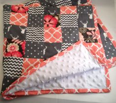 Baby Blanket/Peach & Gray Patchwork Quilt/Minky Baby Quilt/Deer/Chevron/Polka Dots/Florals by OccasionalGoods on Etsy