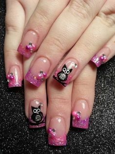 Pink owl French nails with glitter :: one1lady.com :: #nail #nails #nailart #manicure
