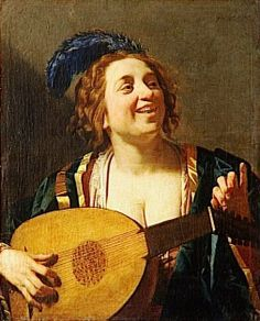 Gerrit van Honthorst (Dutch Baroque Era painter, 1590-1656) Femme accordant un luth